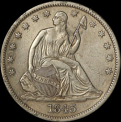 1843 50c Seated Liberty Half Dollar - Cleaned with Rim Issues - Free Shipping
