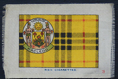 MACLEOD Clan Tartan and Coat of Arms SILK card issued in 1922