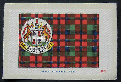 MACNAUGHTON Clan Tartan and Coat of Arms SILK card issued in 1922