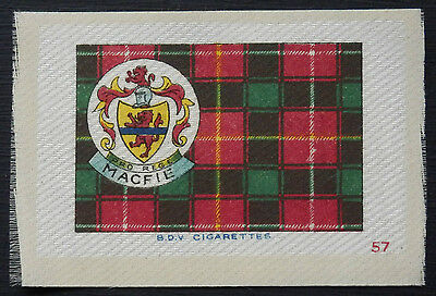 MACFIE Clan Tartan and Coat of Arms SILK card issued in 1922