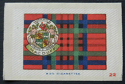 MACDUFF Clan Tartan and Coat of Arms SILK card issued in 1922