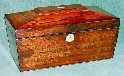 Large Victorian Sarcophagus Shaped Rosewood Tea Caddy - Mother of Pearl Insets