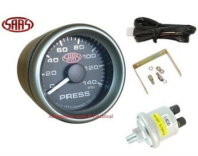 "SAAS OIL PRESSURE GAUGE 52MM 2"" INCH BLACK FACE ELECTRIC MULTI COLOUR Inc Sender"