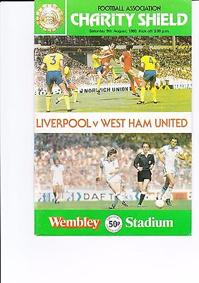 1980 Charity Shield Liverpool v West Ham Official Programme