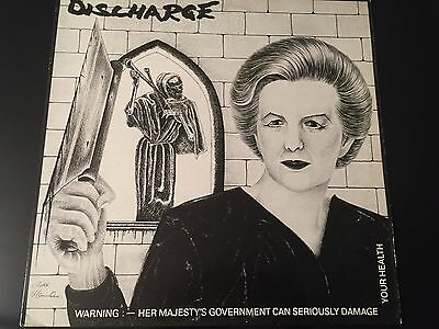 "Discharge ""warning: Her Majesty's Government "" 1983 Clay Records  4 Track 12"""