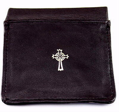 New Black Leather Gold Stamped Rosary Pouch Rosary Holder - Self Closing -