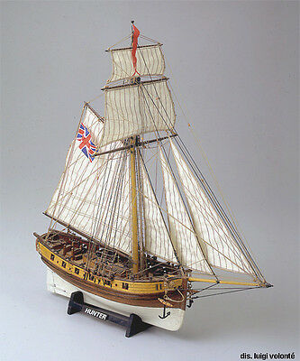 "Intricate, Popular Wooden Model Ship Kit by Mamoli: the ""Hunter"""