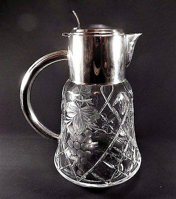 Beautiful Pre-War Cut Crystal & Silver Plate Water Pitcher Tankard & Insert