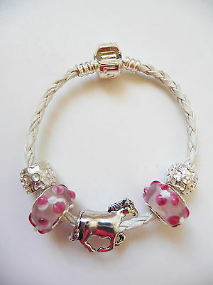 Child girls White Leather Charm Bracelet european style, Love Clasp, Horse