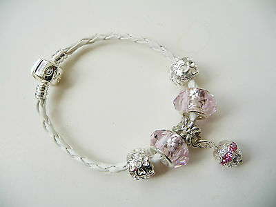 Child girls White Leather Charm Bracelet european style, Love Clasp, Pink Ball