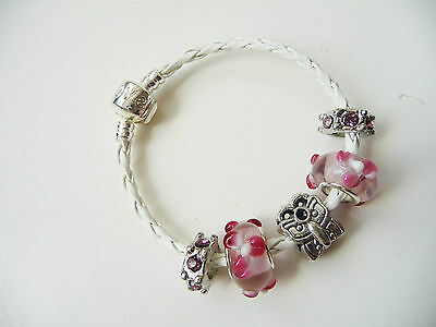 Child girls White Leather Charm Bracelet european style Love, Pink Butterfly