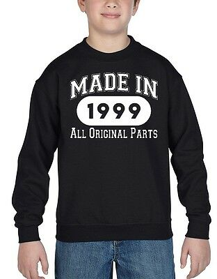 Made In 1999 Youth Crewneck All Original Parts 18th Birthday Gift Sweatshirts