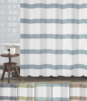 "Mulberry Striped Fabric Shower Curtain Waffle Weave 70""x72"" Hotel Quality"