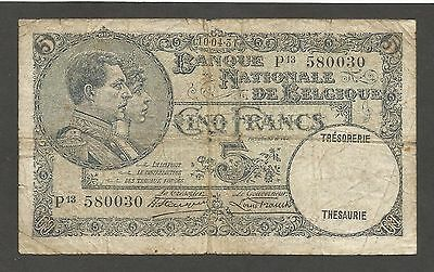 Belgium 5 Francs 10.4.1931; VG; P-97b; King and Queen; Franck, Stacquet sign