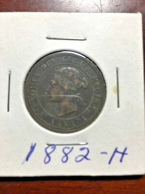 1882 H CANADA LARGE ONE CENT COIN ~ KM 7 Queen Victoria - #1244