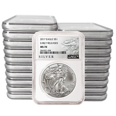 Lot of 20 - 2017 $1 American Silver Eagle NGC MS70 Early Releases ALS ER Label