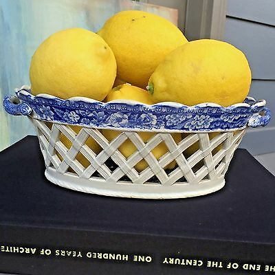 Antique English Pearlware Creamware Chestnut Basket Bowl