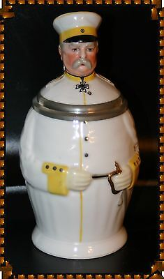 Bismarck Character Stein, .5L, Porcelain,with Inlaid Lid And Lithophane, Mint