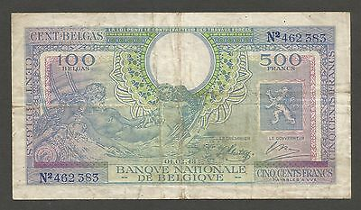 Belgium 500 Francs 1.2.1943; F+; P-124; Government in Exile; WWII