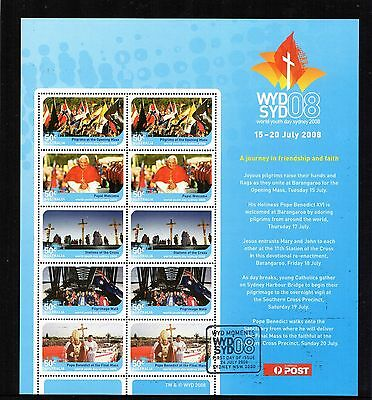 2008 World Youth Day Mini Sheet With Special Sydney Cancel, CTO, Very Scarce