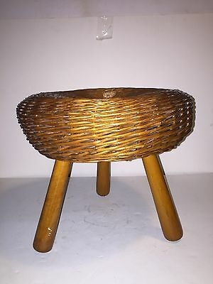 Authentic brown wicker three legged pegged wooden stool petite