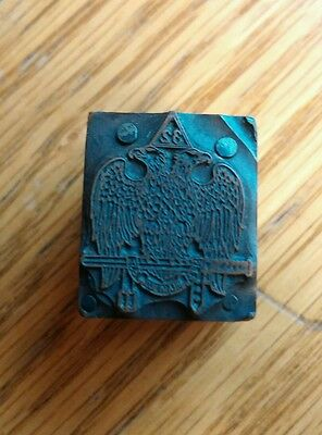 Letterpress metal copper type wood printers block Masonic  32° 2 head EAGLE