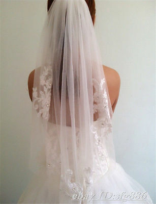 "SPECIAL TODAY ONLY Ivory 1 Tier Applique Lace Rhinestone 33"" Elbow Wedding Veil"