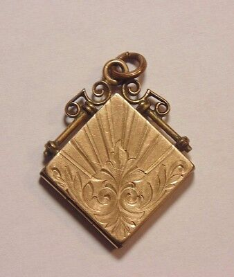 Victorian Yellow Gold Filled Etched Engraved Locket Watch Fob Pendant 1900's