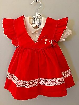1970's Vintage Red Pinafore & White Lace Dress for Baby Girl | Size 9mths