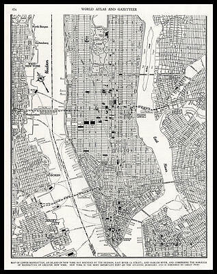 City of Lower MANHATTAN New York 1945 antique detailed view Plan Map