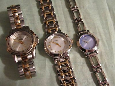 Lot of 3 ladies Guess Quartz watches,Working,Good to very Good!