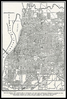 City of MEMPHIS Tennessee 1945 antique detailed view Plan Map
