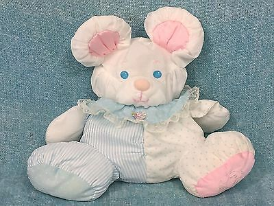"""Fisher Price Puffalump Baby Mouse 9"""" Plush Rattle White Pink Blue 1357 Vintage"""