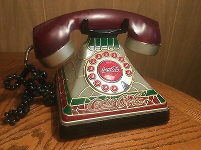 """Coca-Cola  """"2001""""  Tiffany Stained Glass Look Telephone - Retired"""