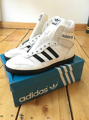 Rare Vintage 80s Adidas Gripper TS Hi Top White/Black Sneakers Deadstock Sz 12