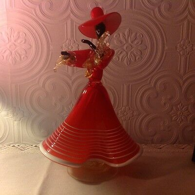 Murano Art Glass Dancing lady  Black and red