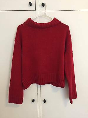 Red cropped turtle neck knitted jumper - size 8