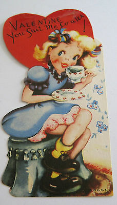 Used Vtg Valentine Card Cute Girl on Stool Valentine You Suit me to a Tea