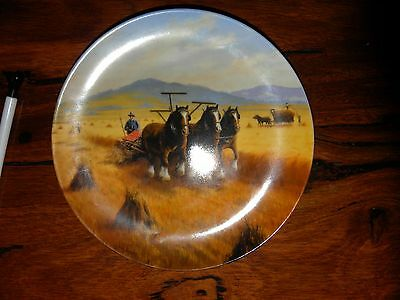 bendigo pottery wall plate.reaping the harvest.