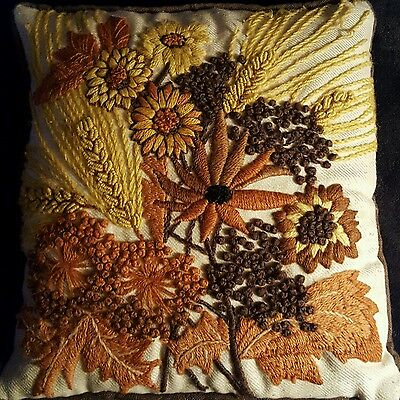 Vintage 1970 Yarn Art Pillow Autumn