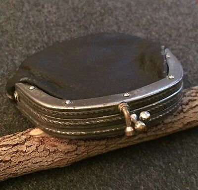 Antique Old Small Black Leather Change Coin Purse Two Double Compartments