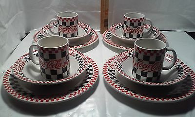 Coca-Cola Set of 4 Gibson 10 1/2 1997 Checker-Board Dinner Plates, Bowls, Cups