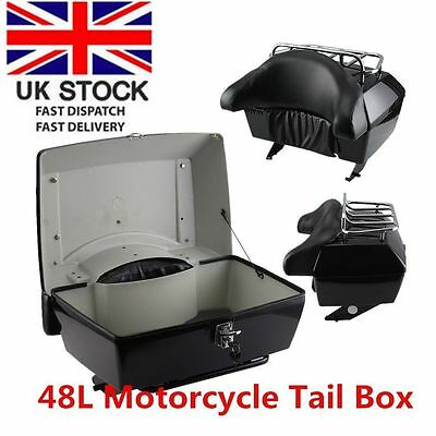 XL Motorcycle Top Box Trunk Luggage Case Release Tail Rack Backrest 42L W/ Rack