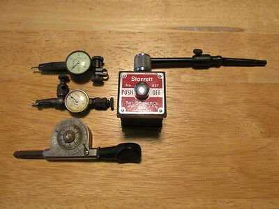 Vintage Starrett Magnetic Base, Dial Test Indicators,and Speed Indicator