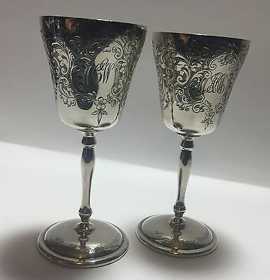 Pair of CSG & Co. Sterling Silver Wedding Anniversary Goblets