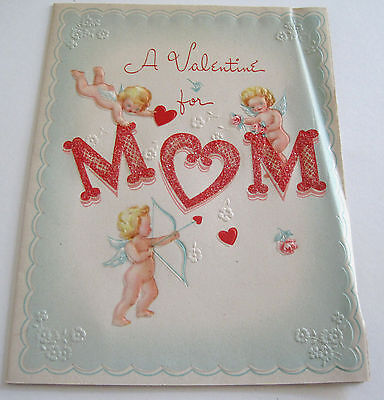 Used Vtg Valentine Card Cute Little Blonde Cupids on Glittery MOM