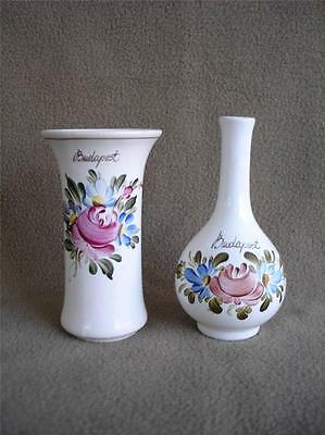 """Lot 2 Small Pottery 3.5"""" Vases Budapest Hand Painted Porcelain Roses Flowers"""