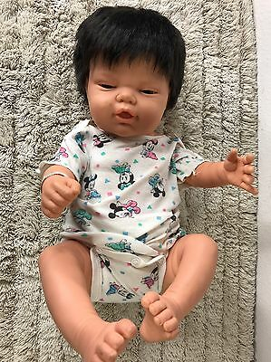 BERJUSA Newborn Hospital Band Berenguer Anatomically Asian Collectible Doll 19''