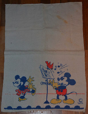 """VERY vintage MICKEY MOUSE hand towel 1930's 17x25 inch top shape pre """"production"""
