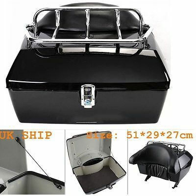 Motorcycle back top box case universal scooter motorbike rear luggage black 42L
